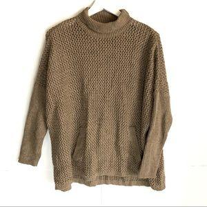 LOFT Tan Chunky Knit Front Pocket Turtleneck